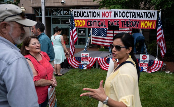 Protestors rally against critical race theory in schools in  Virginia on June 12, 2021.