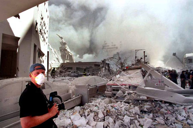 Photographer Thomas E. Franklin working at Ground Zero following the attack on the World Trade Center on Sept. 11, 2001.