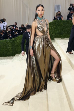 """Quannah Chasinghorse attends the 2021 Met Gala benefit """"In America: A Lexicon of Fashion"""" at the Metropolitan Museum of Art on Sept. 13, 2021 in New York City."""