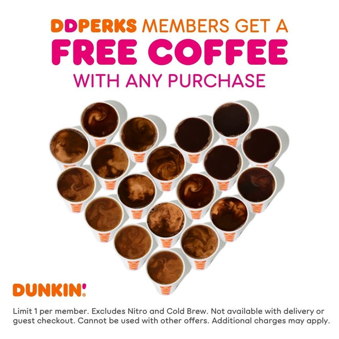 Dunkin' celebrates National Coffee Day with a deal for its loyalty members.