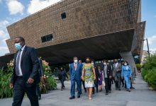 Sep 20, 2021; Washington, DC, United States; President Joao Lourenço of Angola and his wife, Ana Afonso Dias Lourenço, leave after touring the Smithsonian National Museum of African-American History and Culture on Monday, Sept. 20, 2021 in Washington D.C., during the president's first trip to the United States in office. Mandatory Credit: Jarrad Henderson-USA TODAY ORG XMIT: USAT-461965 (Via OlyDrop)