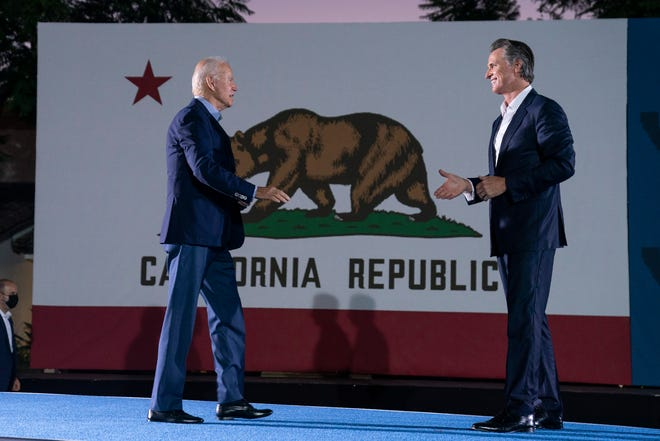 President Joe Biden arrives at a get out the vote rally for Gov. Gavin Newsom, D-Calif., at Long Beach City College, Monday, Sept. 13, 2021, in Long Beach, Calif., as Newsom faces a recall election on Tuesday. (AP Photo/Evan Vucci) ORG XMIT: CAEV111