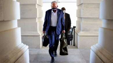 Senate Majority Leader Charles Schumer, D-N.Y., arrives at the U.S. Capitol on Sept. 27, 2021 in Washington, D.C. The Senate is working on passing a funding bill for the U.S. government and an increase to the debt ceiling before a possible government shutdown at the end of the week.