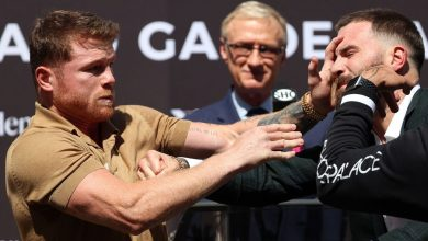 Canelo Alvarez, Caleb Plant trade punches at news conference for Nov. 6 title unification bout