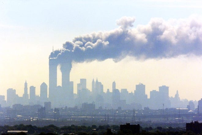 The World Trade Center as seen from the Eagle Rock Reservation in Essex County, N.J., on Sept 11, 2001.
