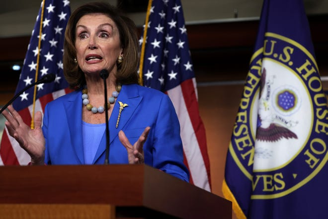 House Speaker Nancy Pelosi, D-Calif., speaks at a weekly news conference at the U.S. Capitol on Thursday.