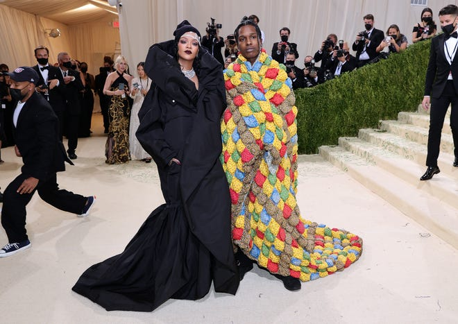 Rihanna and A$AP Rocky attend The 2021 Met Gala Celebrating In America: A Lexicon Of Fashion at Metropolitan Museum of Art on September 13, 2021 in New York City.