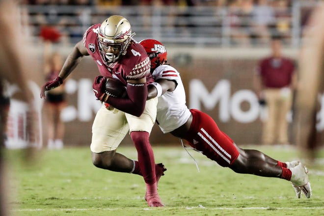 TALLAHASSEE, FL - September 11: During the game with the Florida State Seminoles playing against the Jacksonville State Gamecocks  at Doak Campbell Stadium on Bobby Bowden Field on September 11, 2021 in Tallahassee, Florida. (Photo by Don Juan Moore/Character Lines)