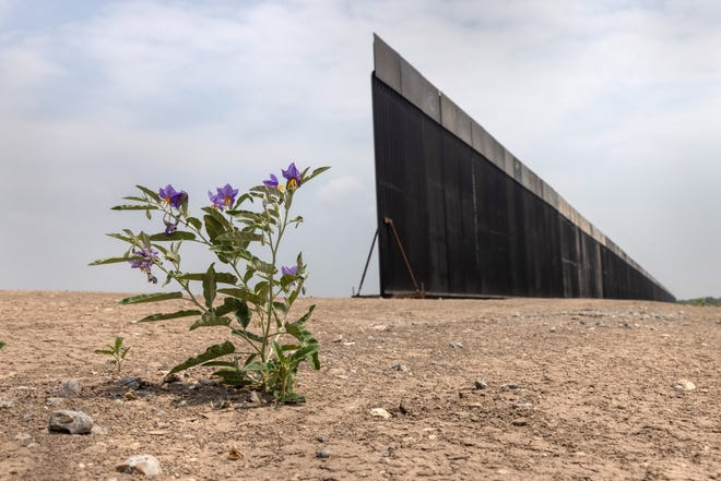 Unfinished section of former President Donald Trump's wall on the U.S.-Mexico border on April 14, 2021 near La Joya, Texas.