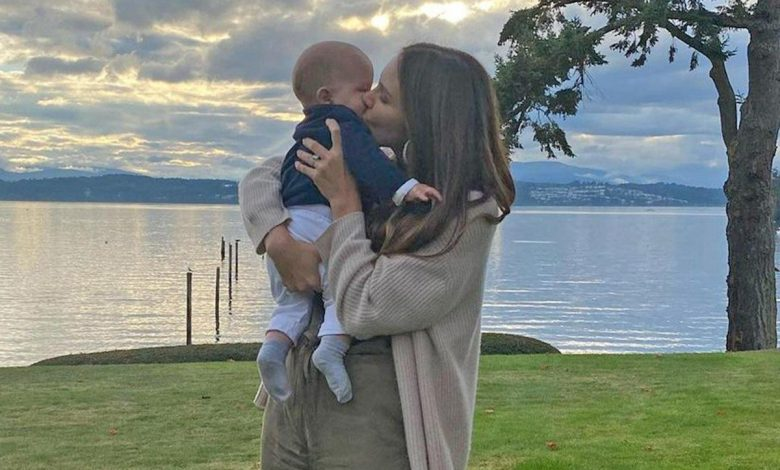 Katharine McPhee Shares First Photos of Son's Face as Husband David Calls Her a 'Hot Mom'