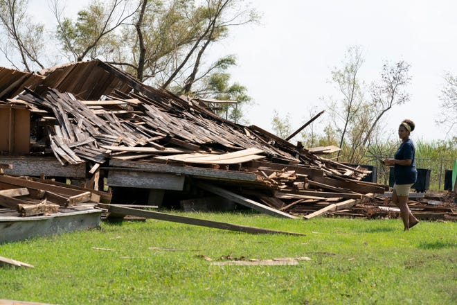 Saturday, Sept. 4, 2021 - The Whitney Plantation in Edgard, known to be a historical and educational site that frames history from the perspective of the slave, sustained costly damage from Hurricane Ida. A building on the plantation built after Reconstruction was totally flattened. Joy Banner, director of communications at the Whitney tours the plantation.