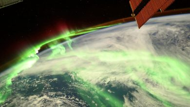 Luminous aurora seen from ISS drapes Earth in a glowing green veil