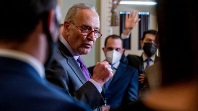 Senate Majority Leader Chuck Schumer, D-N.Y., speaks to reporters as work continues on the Democrats' Build Back Better Act, massive legislation that is a cornerstone of President Joe Biden's domestic agenda, at the Capitol, in Washington on Sept. 14, 2021.