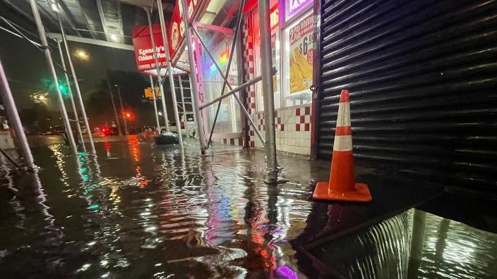 Rainfall from Hurricane Ida floods the basement of a Kennedy Fried Chicken fast food restaurant Wednesday in the Bronx borough of New York City. The hurricane dumped 3.15 inches of rain on Central Park in the span of an hour. (Photo by David Dee Delgado/Getty Images)