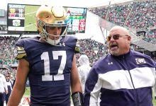 QB Jack Coan's injury doesn't appear serious; Brian Kelly sets Notre Dame mark for football coaching wins