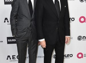 In this file photo, Richard Buckley and Tom Ford arrive at Elton John's 70th birthday party Mar. 25, 2017 in Los Angeles.