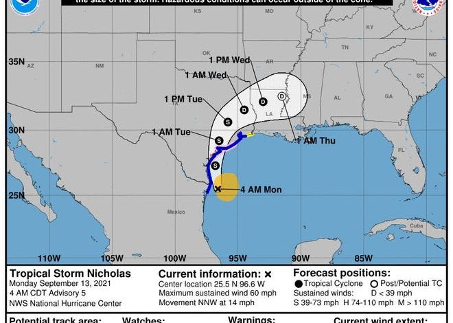 A look at the projected path of Tropical Storm Nicholas as of 5 a.m. ET Sept. 13, 2021.