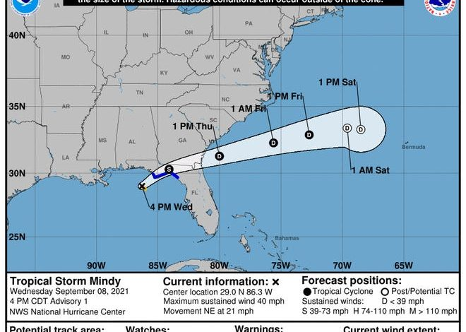 The forecast track of Tropical Storm Mindy shows it crossing Florida overnight Wednesday into Thursday morning.