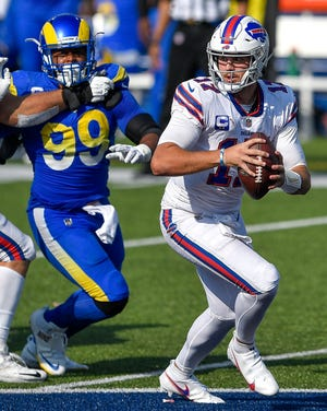 Could Bills QB Josh Allen (17) face the Rams' Aaron Donald in Super Bowl 56, which will be played in Los Angeles?
