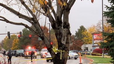Police close off a street outside a shopping mall after a shooting in Boise, Idaho.