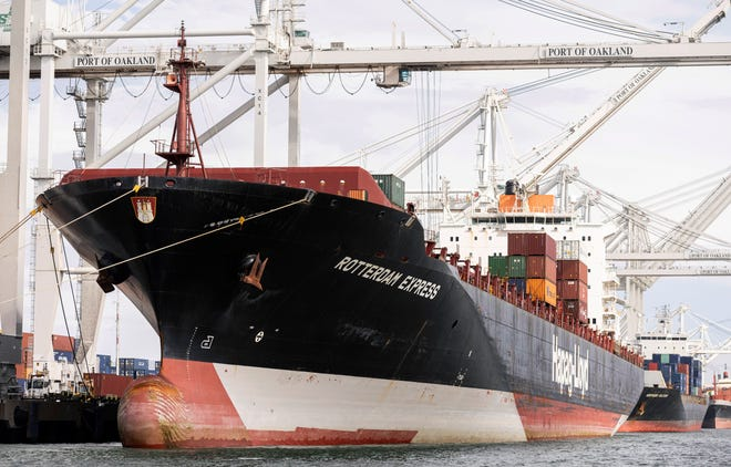 The Rotterdam Express is seen at the Port of Oakland, Wednesday, Oct. 6, 2021 in Oakland, Calif.