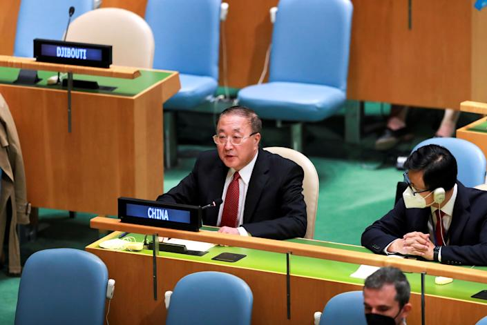 Zhang Jun L, China's permanent representative to the United Nations, delivers a speech on behalf of 75 countries to the General Debate of the Third Committee of the UN General Assembly at the UN headquarters in New York, Oct. 1, 2021. (Photo by Wang Ying/Xinhua via Getty Images)
