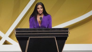 Vanessa Bryant speaks at the 2021 Basketball Hall of Fame ceremony.