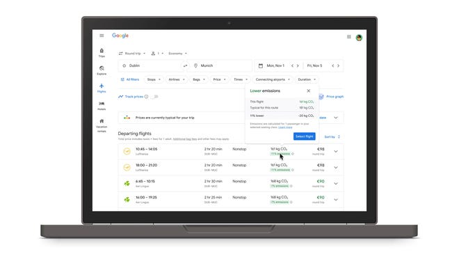 Google launched a new feature thatdisplays acarbon emissions estimate for nearly every flight in its search resultsright next to the price and duration of the flight.