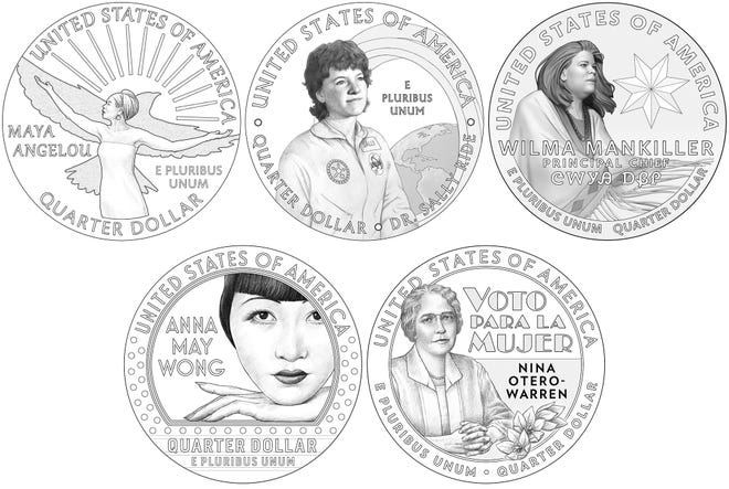"""Maya Angelou, Dr. Sally Ride, Wilma Mankiller, Anna May Wong and Nina Otero-Warren are seen on the new designs for the """"American Women Quarters."""""""