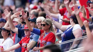 Braves fans do the tomahawk chop during Game 4 of this year's NL division series against the Brewers.