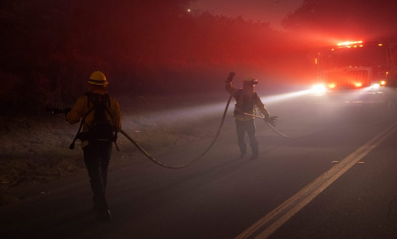 Powerful winds fuel blaze and keeps Highway 101 closed