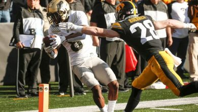 Purdue wide receiver TJ Sheffield scores touchdown during the second quarter against Iowa at Kinnick Stadium in Iowa City.
