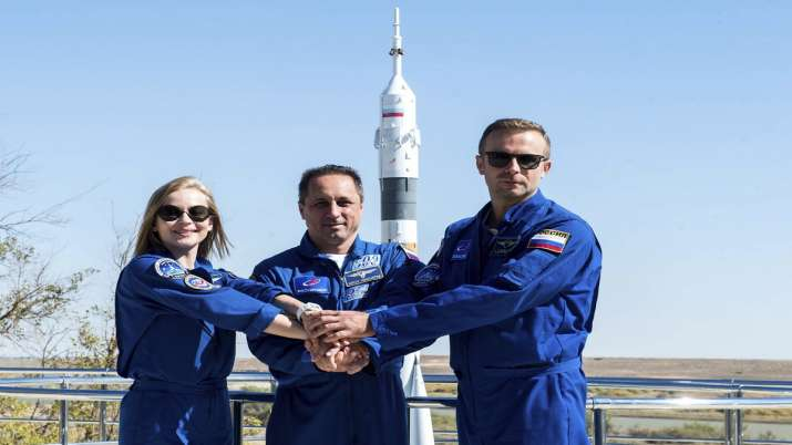 Russian film crew blasts off to make first movie in space