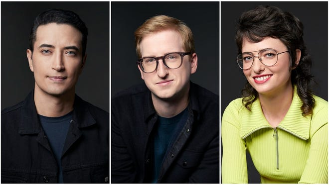 """Three new featured players will join the cast of """"Saturday Night Live"""" for its upcoming 47th season. From left to right: Aristotle Athari, James Austin Johnson and Sarah Sherman."""