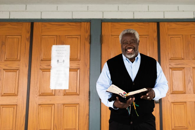 Rev. Rolland E. Slade prepares to give his 7:30 a.m. sermon on July 19, 2020 at Meridian Baptist Church in El Cajon, California, Pastor Slade preaches two sermons each Sunday whether the congregation can attend or not due to COVID regulations. Pastor Slade typically has a few volunteers to help broadcast the sermon and a few others who attend in-person services.