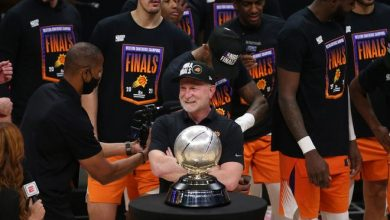 Phoenix Suns owner Robert Sarver smiles before receiving the Western Conference trophy after beating the LA Clippers in Game 6 at STAPLES Center June 30, 2021.