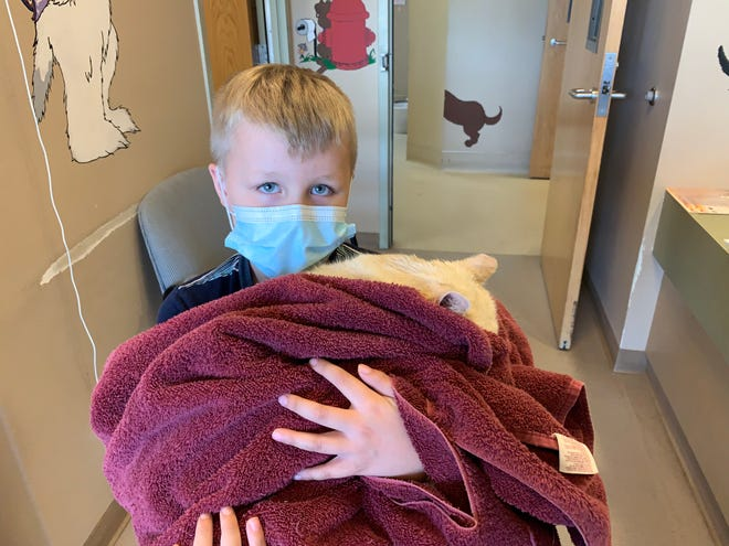 This young pet owner was reunited with his cat, treated after it was rescued from the Dixie Fire burn area in Plumas County, California by the U.C. Davis Veterinary Emergency Response Team. Minutes after he was reunited the him, the cat fell asleep in the boy's arms.
